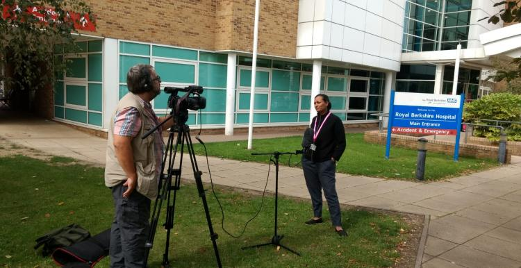 Photo of BBC South interview of Healthwatch Reading