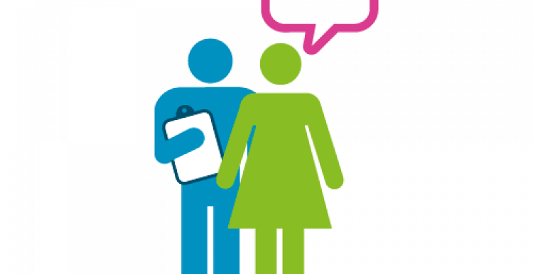 Infographic of person with clipboard and person answering