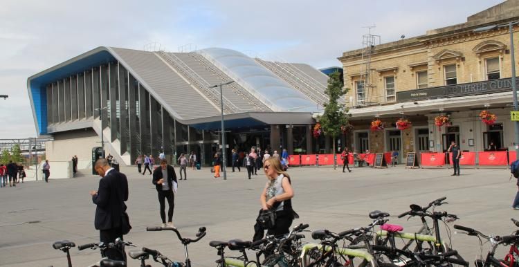Photo of bike stand at Reading train station