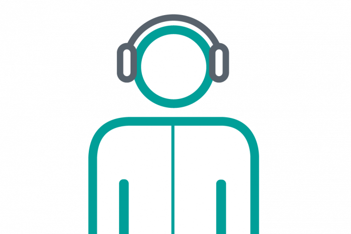 Person with headphones infographic