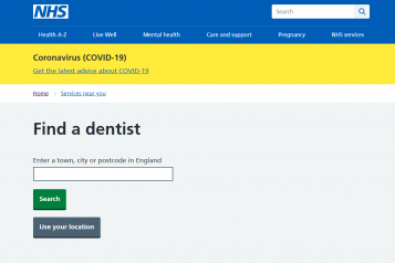 Screenshot of NHS website Find a Dentist search tool