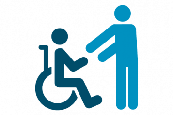 Infographic of carer helping wheelchair user