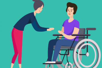 Infographic of woman in wheelchair